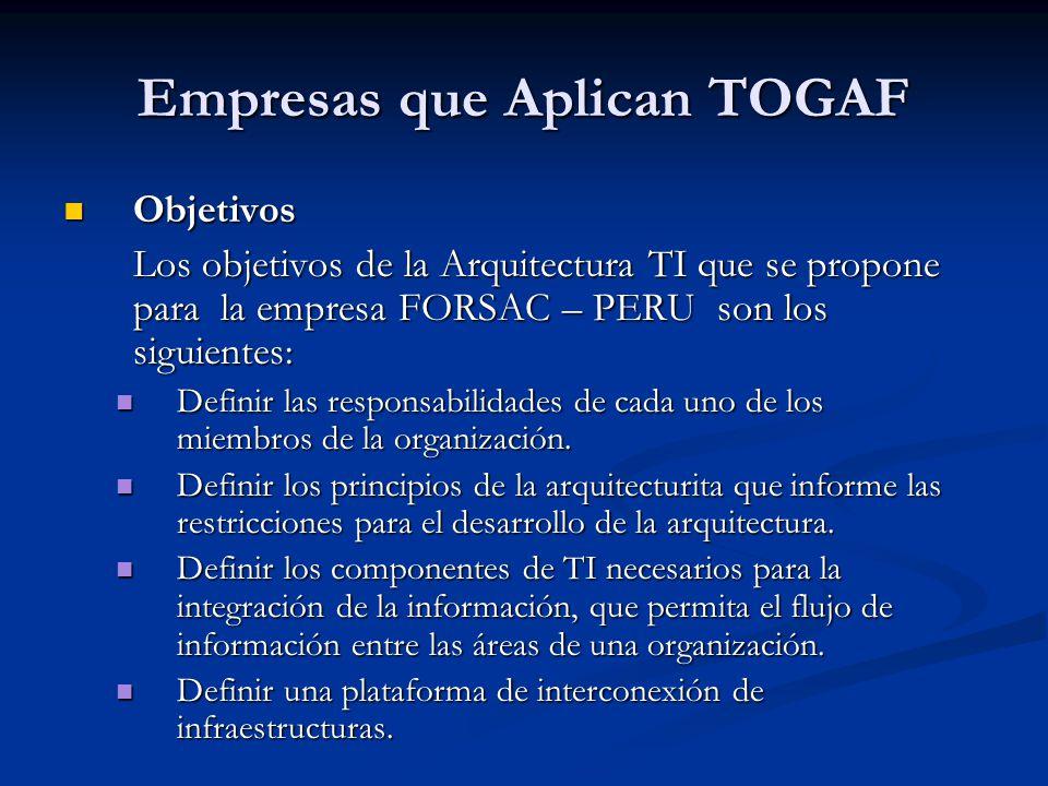 Empresas que Aplican TOGAF Objetivos Objetivos Los objetivos de la Arquitectura TI que se propone para la empresa FORSAC – PERU son los siguientes: De