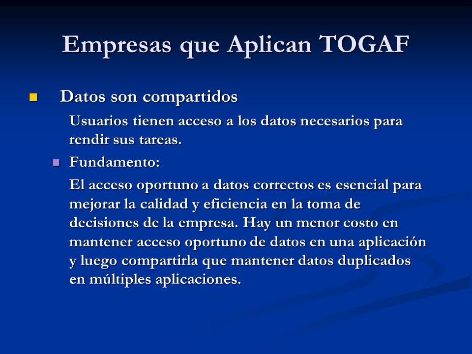 Empresas que Aplican TOGAF Datos son compartidos Datos son compartidos Usuarios tienen acceso a los datos necesarios para rendir sus tareas. Fundament
