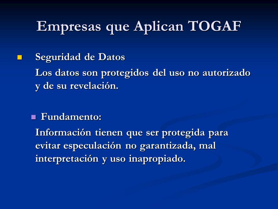 Empresas que Aplican TOGAF Seguridad de Datos Seguridad de Datos Los datos son protegidos del uso no autorizado y de su revelación. Fundamento: Fundam