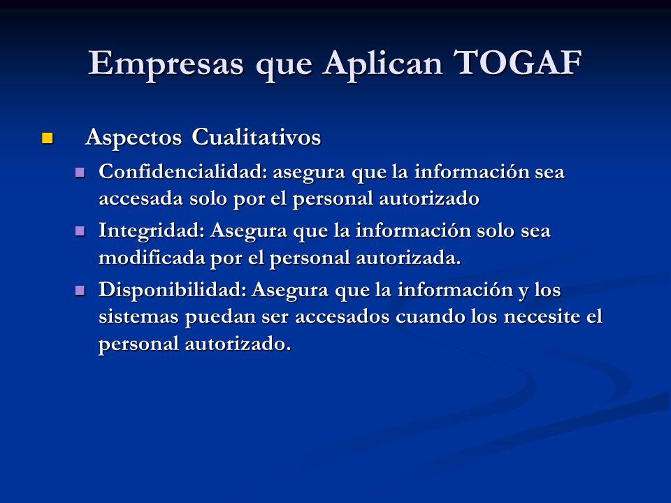 Empresas que Aplican TOGAF Aspectos Cualitativos Aspectos Cualitativos Confidencialidad: asegura que la información sea accesada solo por el personal
