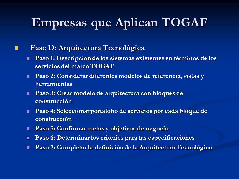 Empresas que Aplican TOGAF Fase D: Arquitectura Tecnológica Fase D: Arquitectura Tecnológica Paso 1: Descripción de los sistemas existentes en término