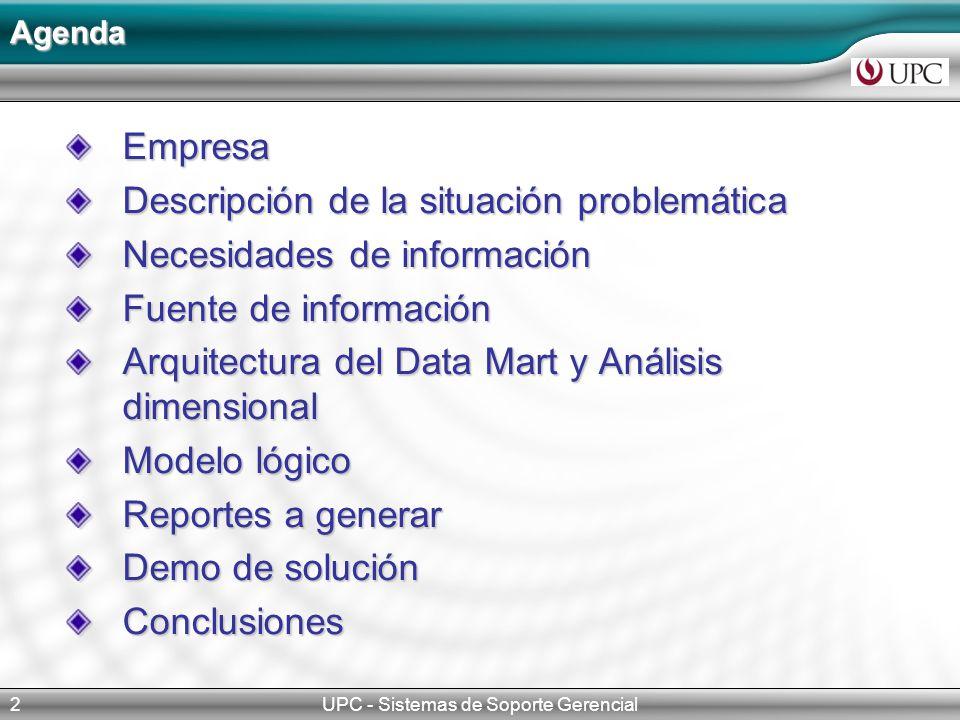 UPC - Sistemas de Soporte Gerencial2 Empresa Descripción de la situación problemática Necesidades de información Fuente de información Arquitectura de