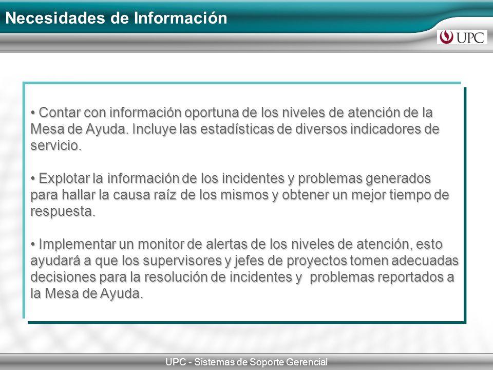 Necesidades de Información UPC - Sistemas de Soporte Gerencial Contar con información oportuna de los niveles de atención de la Mesa de Ayuda. Incluye