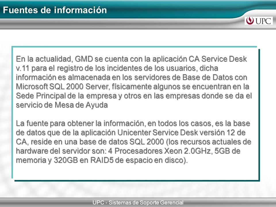 Fuentes de información UPC - Sistemas de Soporte Gerencial En la actualidad, GMD se cuenta con la aplicación CA Service Desk v.11 para el registro de
