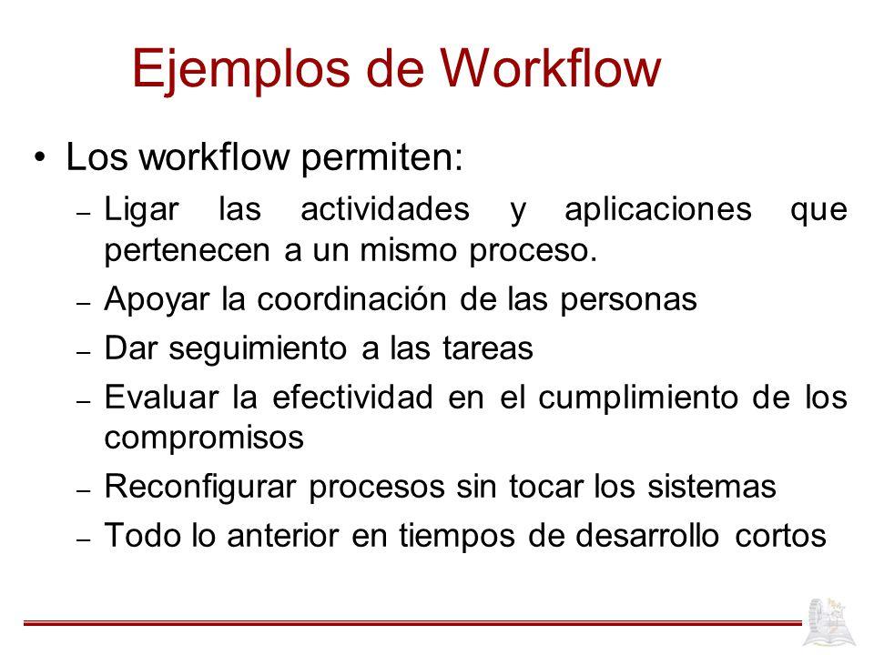 Ejemplos de Workflow Los workflow permiten: – Ligar las actividades y aplicaciones que pertenecen a un mismo proceso. – Apoyar la coordinación de las