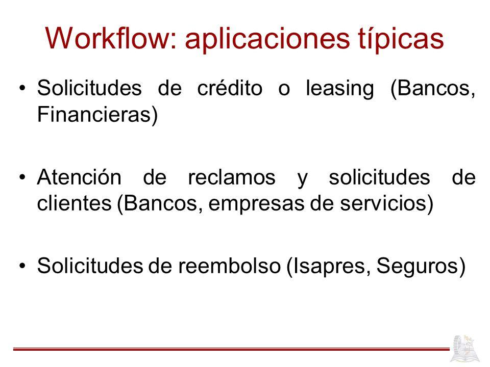 Workflow: aplicaciones típicas Solicitudes de crédito o leasing (Bancos, Financieras) Atención de reclamos y solicitudes de clientes (Bancos, empresas