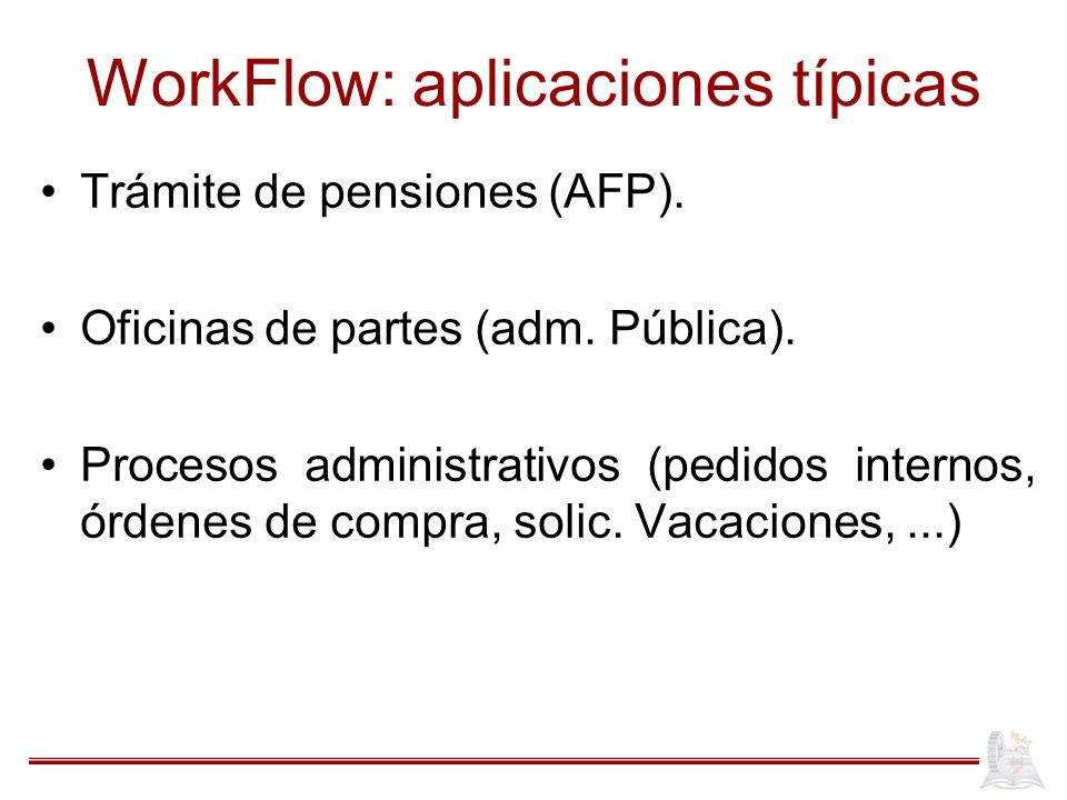 WorkFlow: aplicaciones típicas Trámite de pensiones (AFP). Oficinas de partes (adm. Pública). Procesos administrativos (pedidos internos, órdenes de c