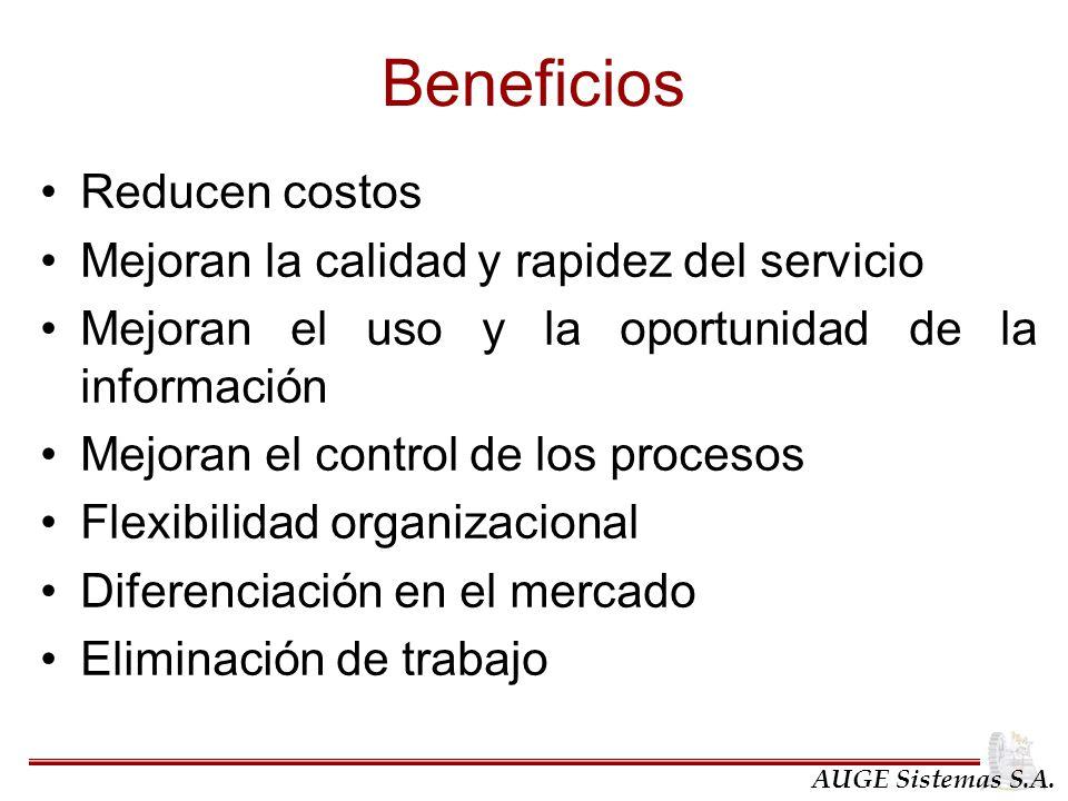 Beneficios Reducen costos Mejoran la calidad y rapidez del servicio Mejoran el uso y la oportunidad de la información Mejoran el control de los proces