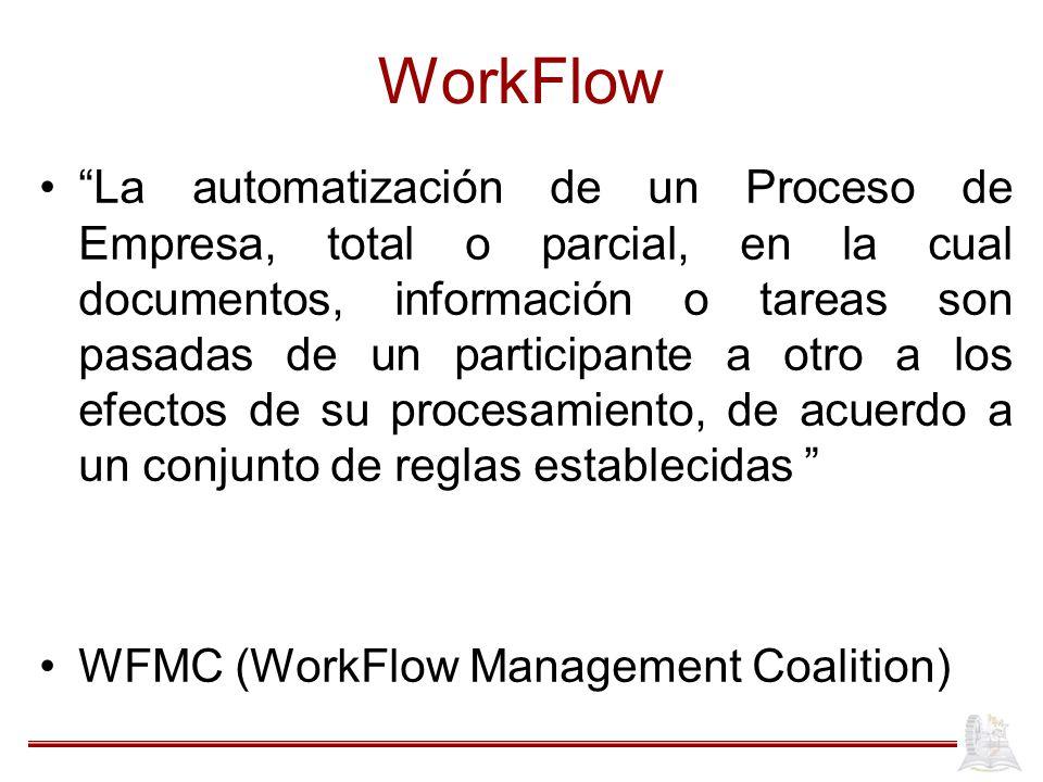 WorkFlow La automatización de un Proceso de Empresa, total o parcial, en la cual documentos, información o tareas son pasadas de un participante a otr