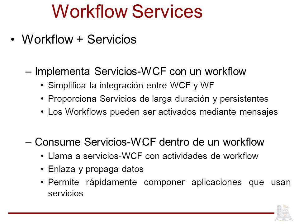 Workflow Services Workflow + Servicios –Implementa Servicios-WCF con un workflow Simplifica la integración entre WCF y WF Proporciona Servicios de lar