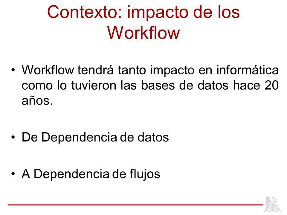 Contexto: impacto de los Workflow Workflow tendrá tanto impacto en informática como lo tuvieron las bases de datos hace 20 años. De Dependencia de dat