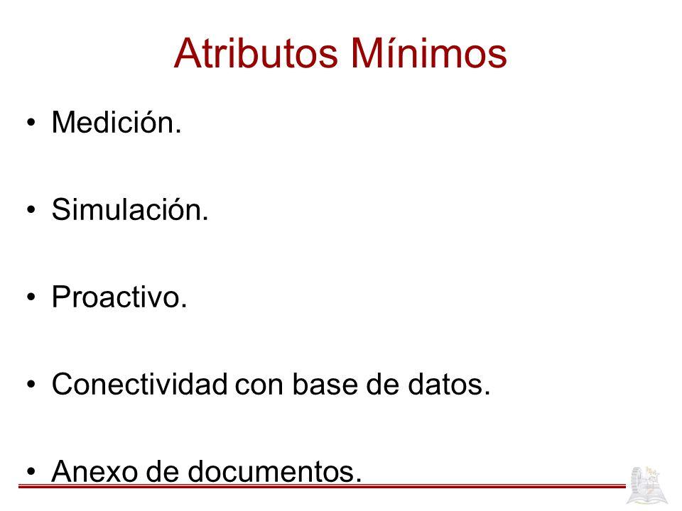Atributos Mínimos Medición. Simulación. Proactivo. Conectividad con base de datos. Anexo de documentos.