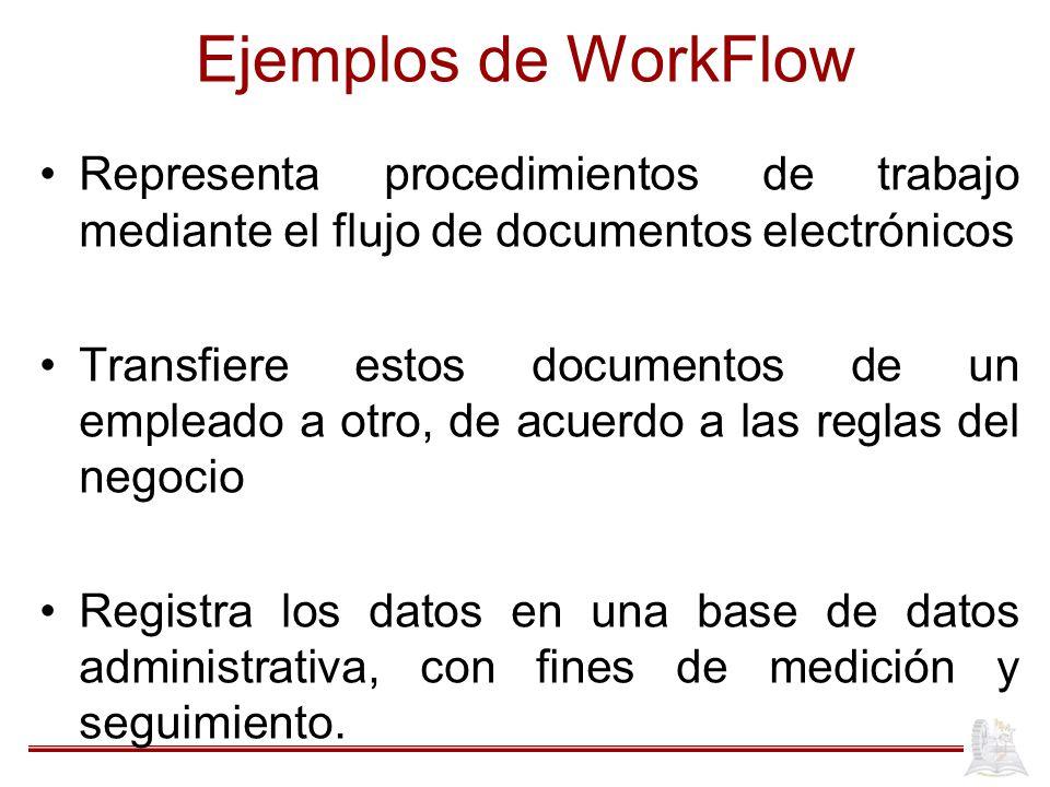 Ejemplos de WorkFlow Representa procedimientos de trabajo mediante el flujo de documentos electrónicos Transfiere estos documentos de un empleado a ot