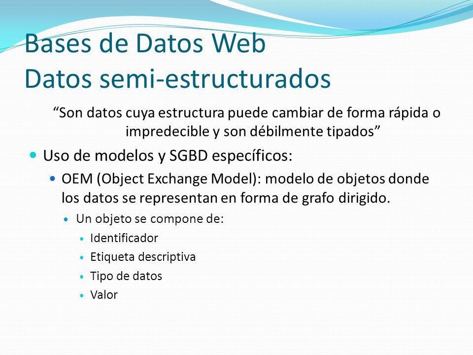 Bases de Datos Web Datos semi-estructurados Son datos cuya estructura puede cambiar de forma rápida o impredecible y son débilmente tipados Uso de mod
