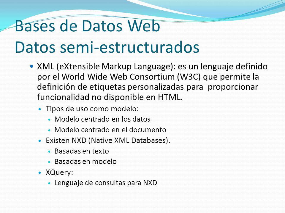Bases de Datos Web Datos semi-estructurados XML (eXtensible Markup Language): es un lenguaje definido por el World Wide Web Consortium (W3C) que permi