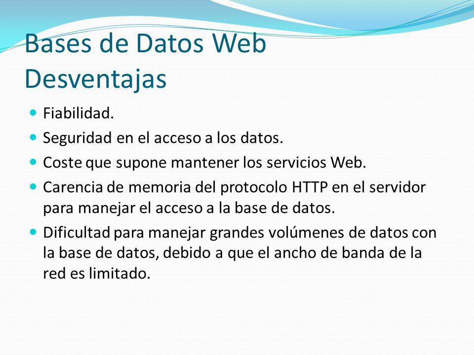 Bases de Datos Web Desventajas Fiabilidad. Seguridad en el acceso a los datos. Coste que supone mantener los servicios Web. Carencia de memoria del pr
