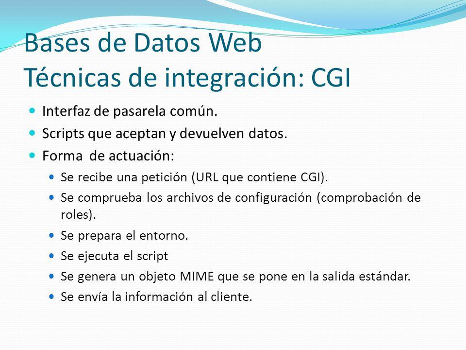 Bases de Datos Web Técnicas de integración: CGI Interfaz de pasarela común. Scripts que aceptan y devuelven datos. Forma de actuación: Se recibe una p