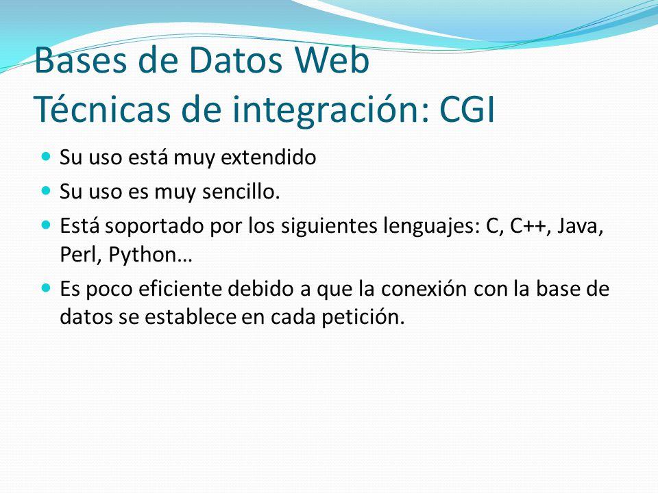 Bases de Datos Web Técnicas de integración: CGI Su uso está muy extendido Su uso es muy sencillo. Está soportado por los siguientes lenguajes: C, C++,