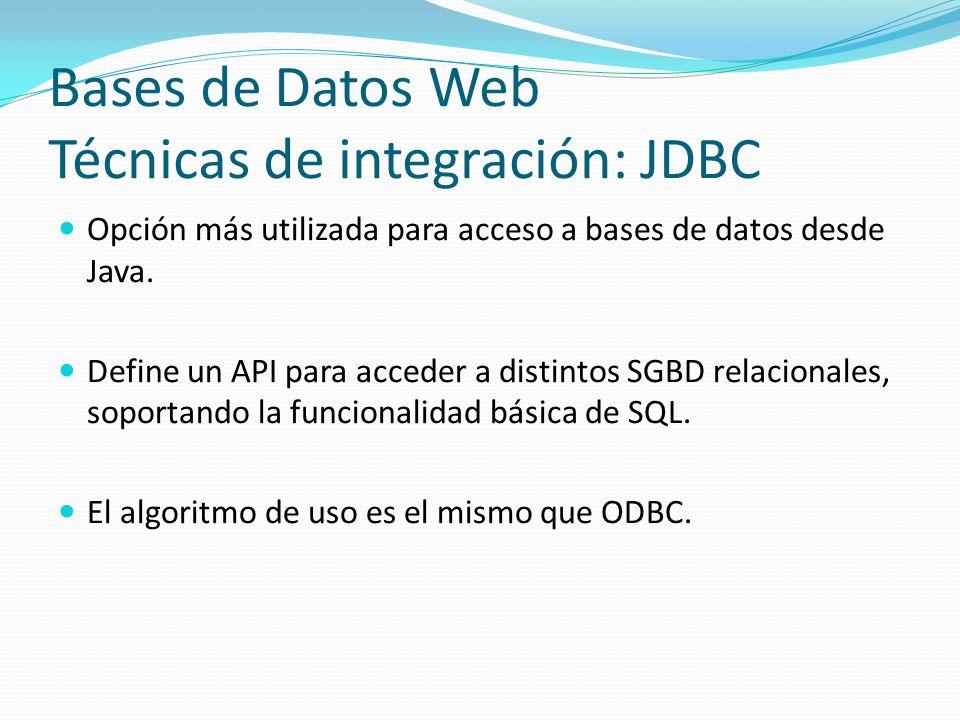 Bases de Datos Web Técnicas de integración: JDBC Opción más utilizada para acceso a bases de datos desde Java. Define un API para acceder a distintos