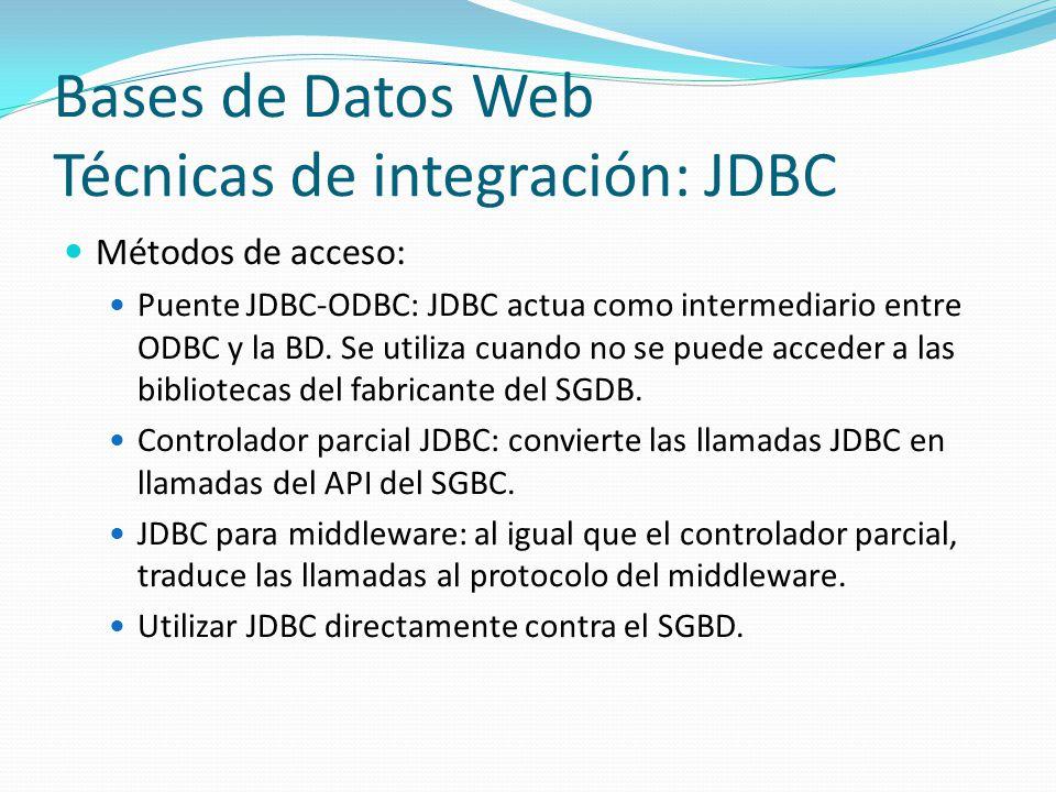 Bases de Datos Web Técnicas de integración: JDBC Métodos de acceso: Puente JDBC-ODBC: JDBC actua como intermediario entre ODBC y la BD. Se utiliza cua
