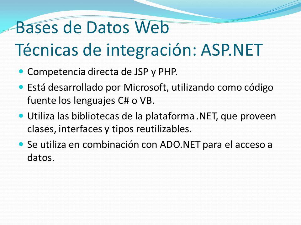 Bases de Datos Web Técnicas de integración: ASP.NET Competencia directa de JSP y PHP. Está desarrollado por Microsoft, utilizando como código fuente l
