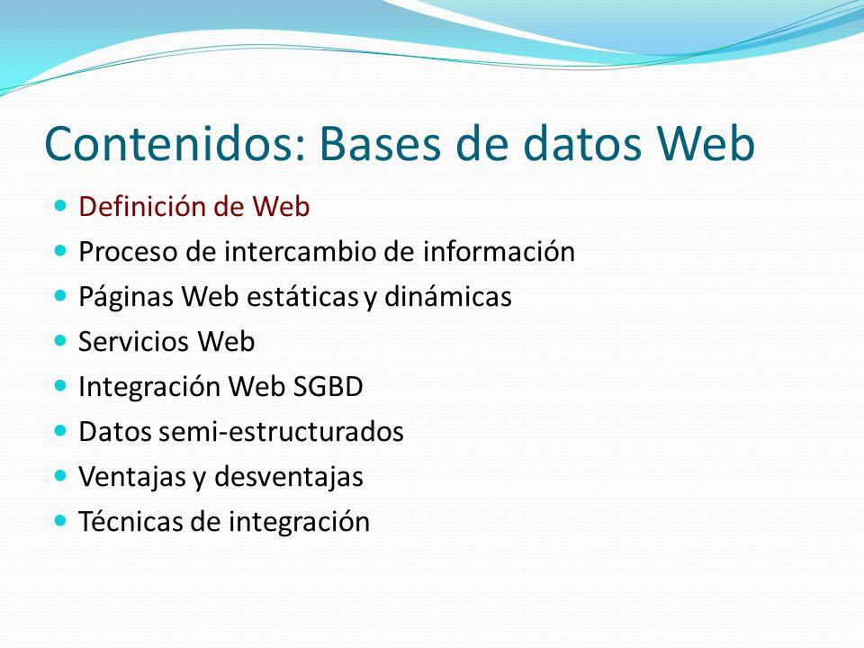 Bases de Datos Web Definición de Web Sistema basado en tecnología hipermedia que proporciona un método de explorar información en Internet de forma no secuencial, utilizando hipervínculos Red de servidores y clientes Elementos necesarios para intercambio información: HTTP (HyperText Transfer Protocol) HTML (HyperText Markup Language)