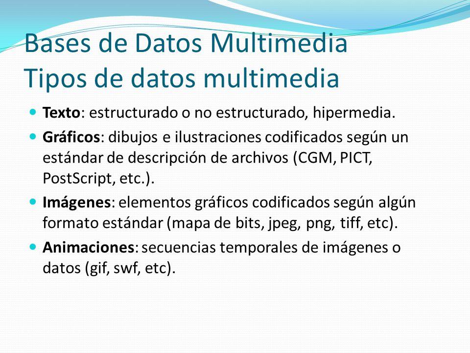 Bases de Datos Multimedia Tipos de datos multimedia Texto: estructurado o no estructurado, hipermedia. Gráficos: dibujos e ilustraciones codificados s