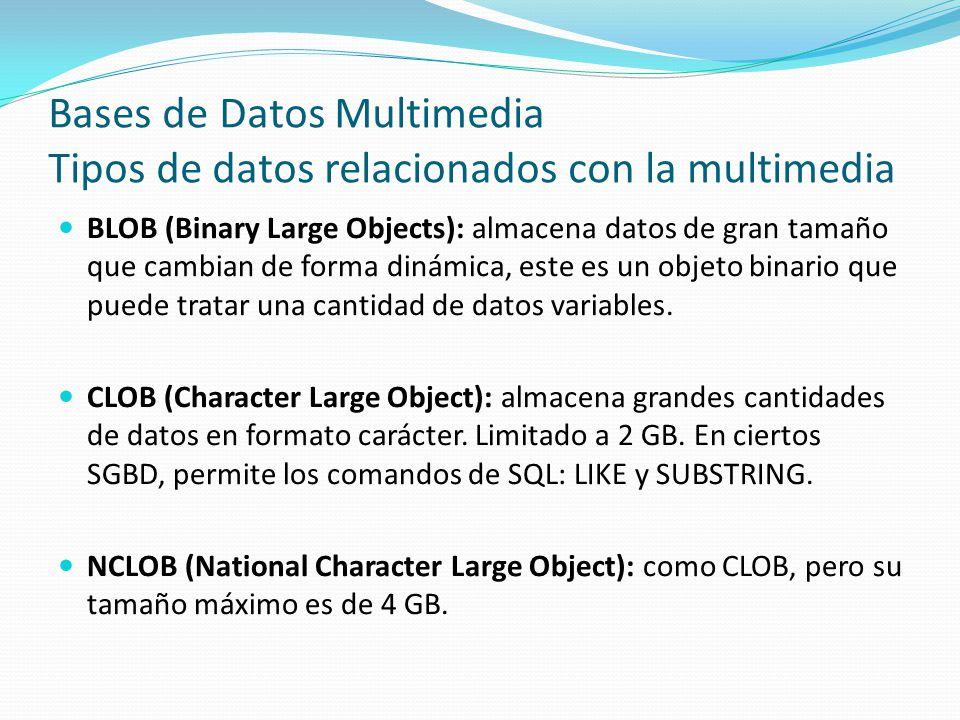 Bases de Datos Multimedia Tipos de datos relacionados con la multimedia BLOB (Binary Large Objects): almacena datos de gran tamaño que cambian de form