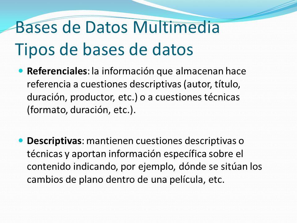Bases de Datos Multimedia Tipos de bases de datos Referenciales: la información que almacenan hace referencia a cuestiones descriptivas (autor, título