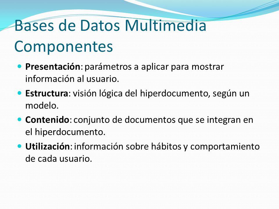 Bases de Datos Multimedia Componentes Presentación: parámetros a aplicar para mostrar información al usuario. Estructura: visión lógica del hiperdocum