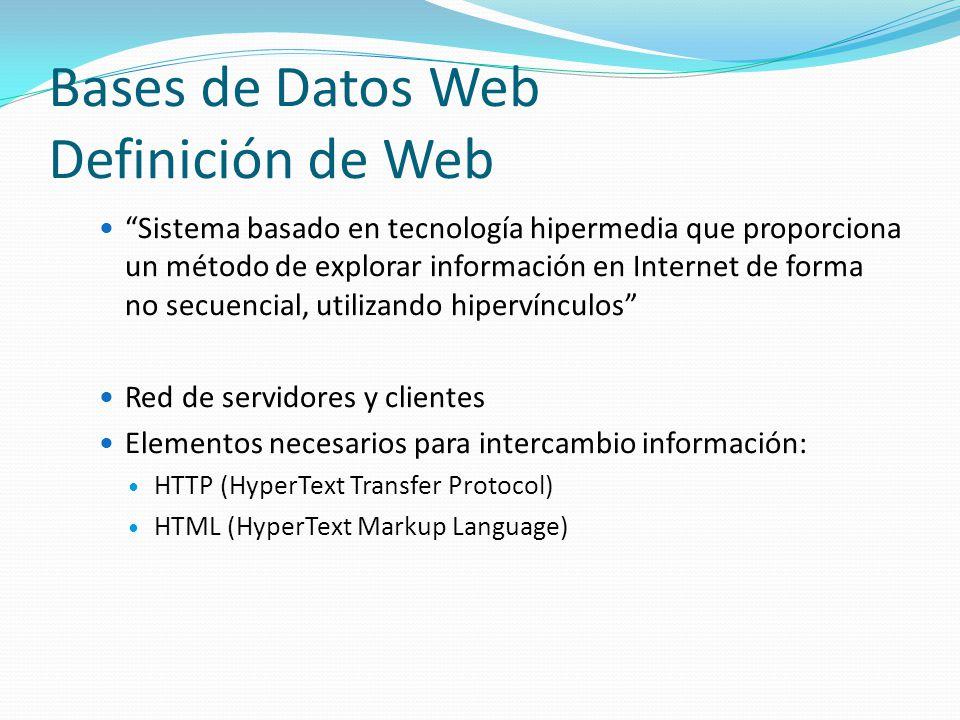 Bases de Datos Web Definición de Web Sistema basado en tecnología hipermedia que proporciona un método de explorar información en Internet de forma no