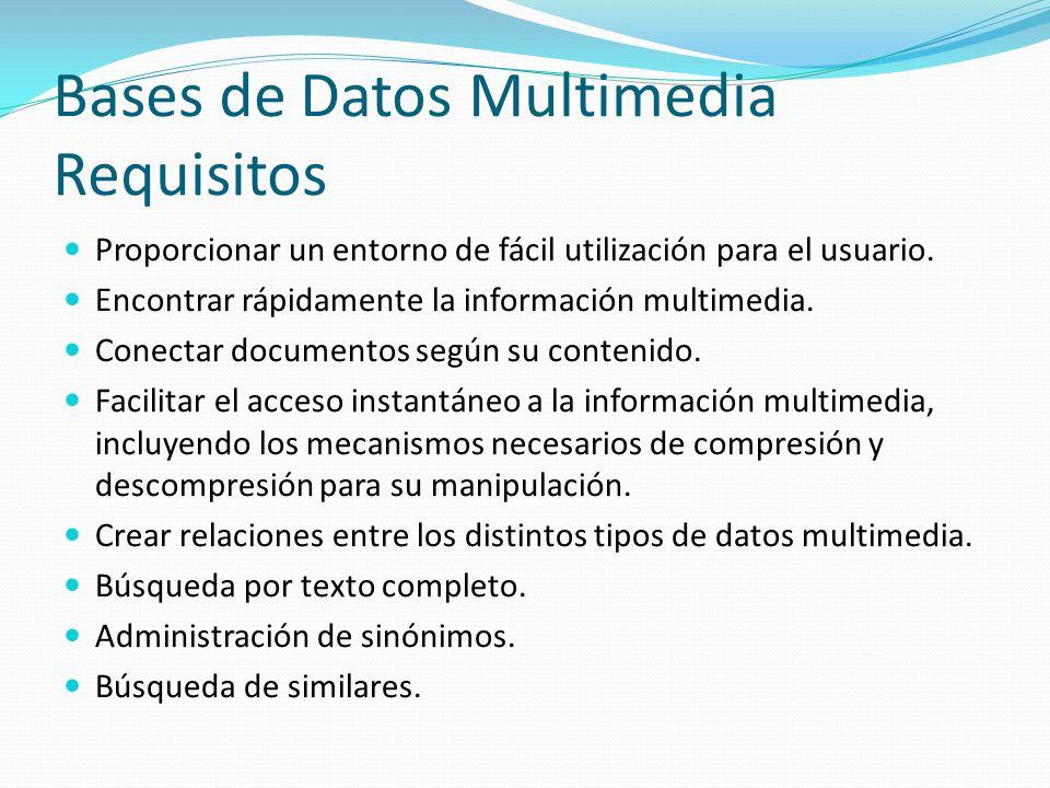 Bases de Datos Multimedia Requisitos Proporcionar un entorno de fácil utilización para el usuario. Encontrar rápidamente la información multimedia. Co