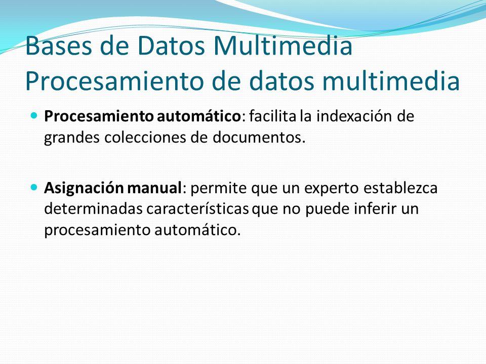 Bases de Datos Multimedia Procesamiento de datos multimedia Procesamiento automático: facilita la indexación de grandes colecciones de documentos. Asi