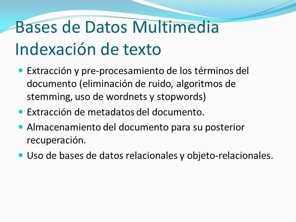 Bases de Datos Multimedia Indexación de texto Extracción y pre-procesamiento de los términos del documento (eliminación de ruido, algoritmos de stemmi