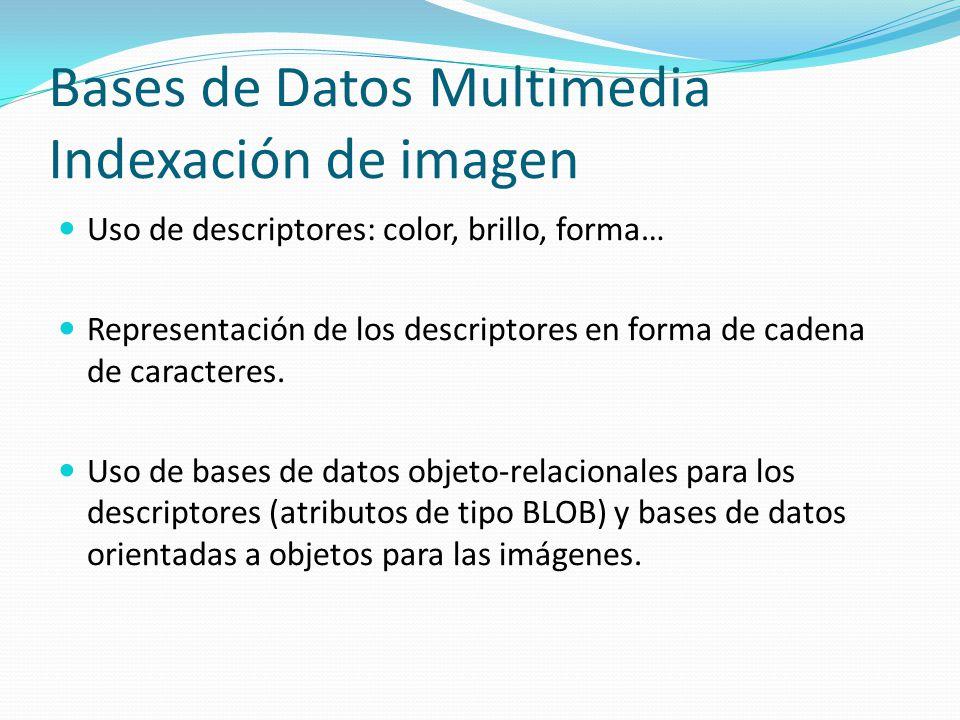 Bases de Datos Multimedia Indexación de imagen Uso de descriptores: color, brillo, forma… Representación de los descriptores en forma de cadena de car