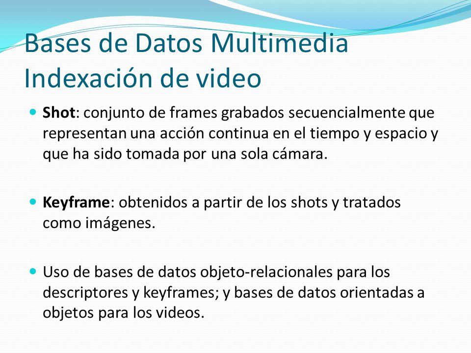 Bases de Datos Multimedia Indexación de video Shot: conjunto de frames grabados secuencialmente que representan una acción continua en el tiempo y esp