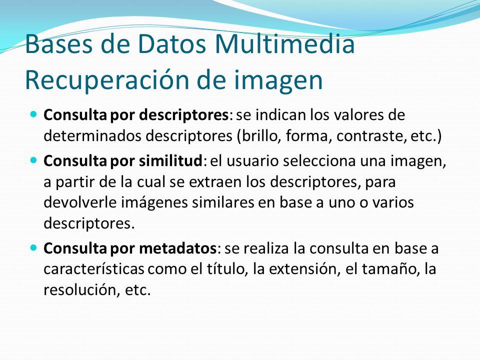 Bases de Datos Multimedia Recuperación de imagen Consulta por descriptores: se indican los valores de determinados descriptores (brillo, forma, contra