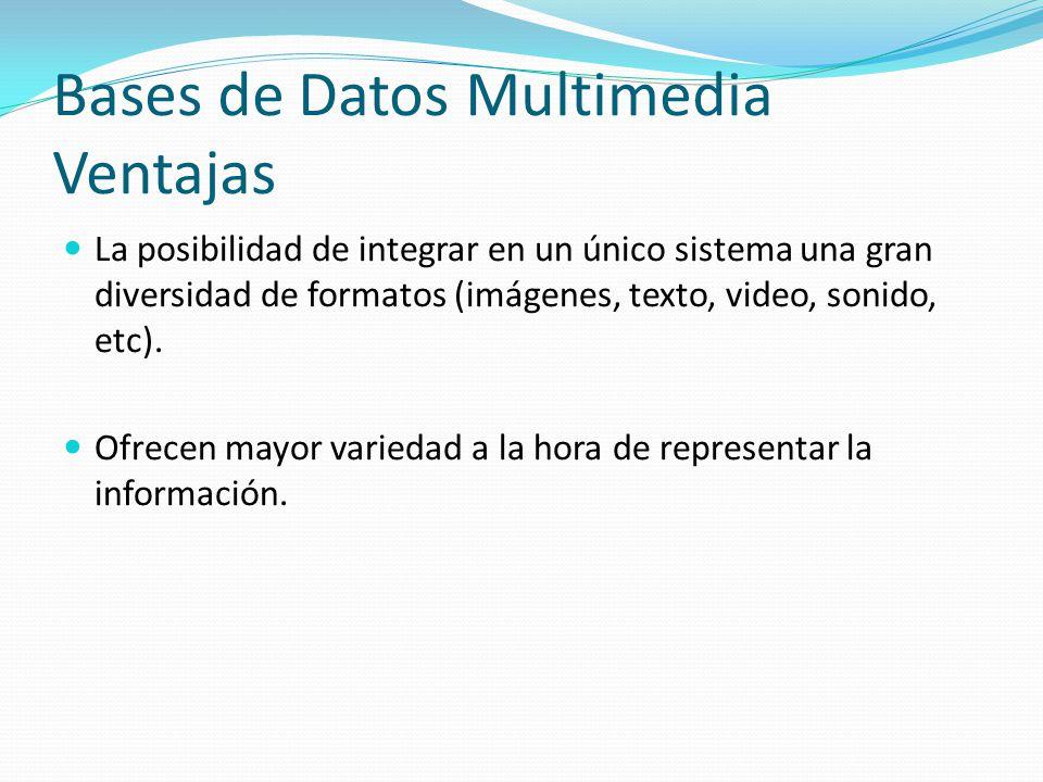 Bases de Datos Multimedia Ventajas La posibilidad de integrar en un único sistema una gran diversidad de formatos (imágenes, texto, video, sonido, etc