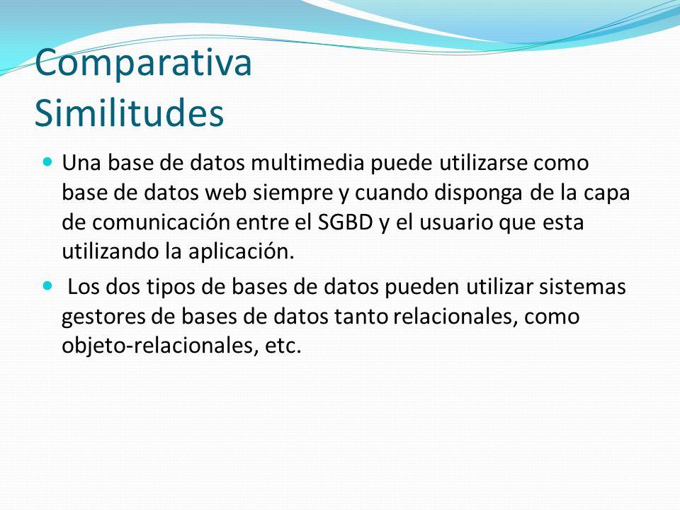 Comparativa Similitudes Una base de datos multimedia puede utilizarse como base de datos web siempre y cuando disponga de la capa de comunicación entr