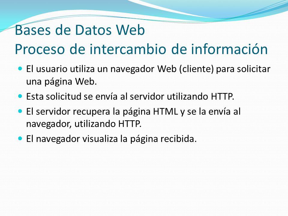 Bases de Datos Web Proceso de intercambio de información El usuario utiliza un navegador Web (cliente) para solicitar una página Web. Esta solicitud s