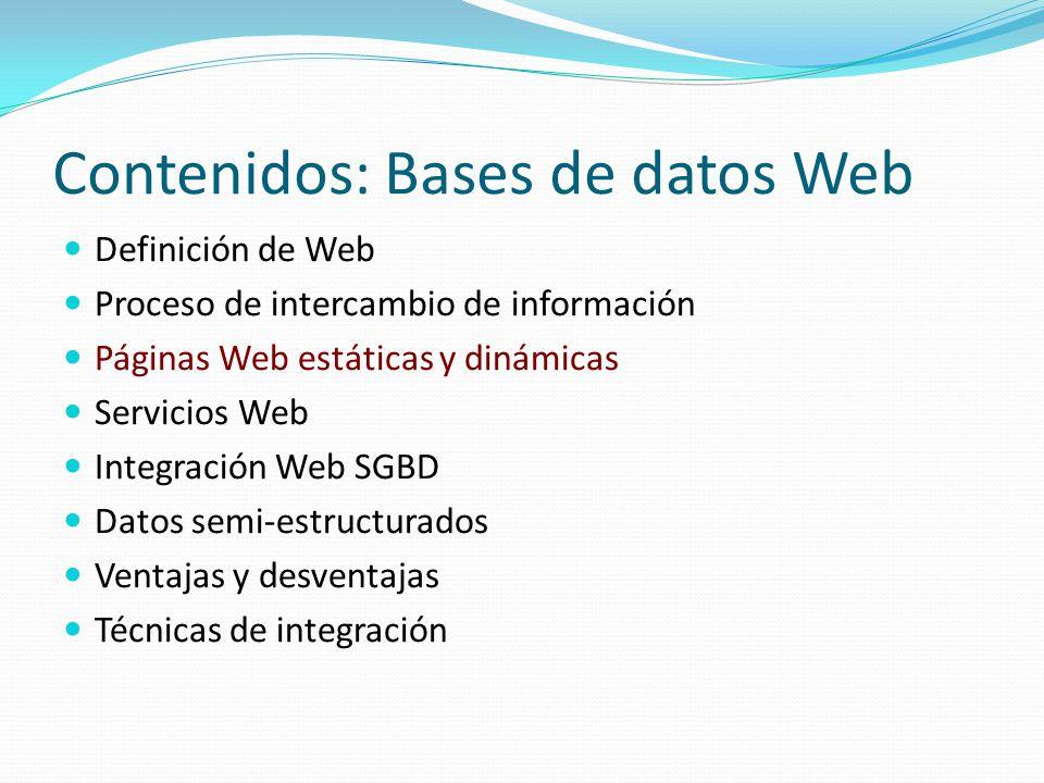 Bases de Datos Web Páginas Web estáticas y dinámicas Página Web estática: Documento HTML que contiene la información que se desea mostrar.