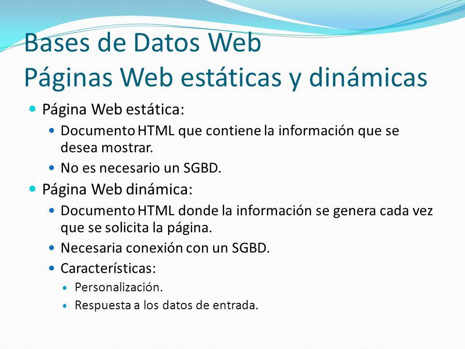 Bases de Datos Web Páginas Web estáticas y dinámicas Página Web estática: Documento HTML que contiene la información que se desea mostrar. No es neces