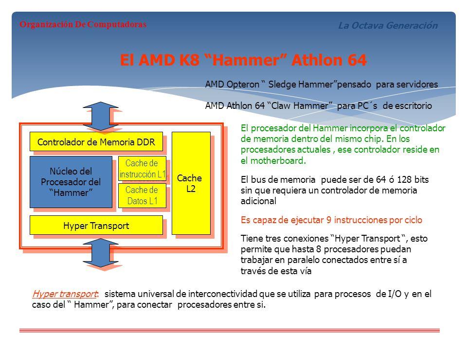 El AMD K8 Hammer Athlon 64 Controlador de Memoria DDR Hyper Transport Núcleo del Procesador del Hammer Núcleo del Procesador del Hammer Cache de instr