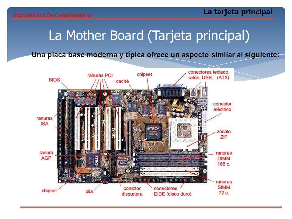 La Mother Board (Tarjeta principal) La tarjeta principal Una placa base moderna y típica ofrece un aspecto similar al siguiente: Organización De Compu