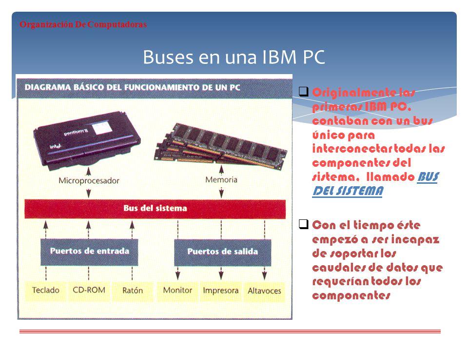 Buses en una IBM PC Originalmente las primeras IBM PC, contaban con un bus único para interconectar todas las componentes del sistema, llamado BUS DEL
