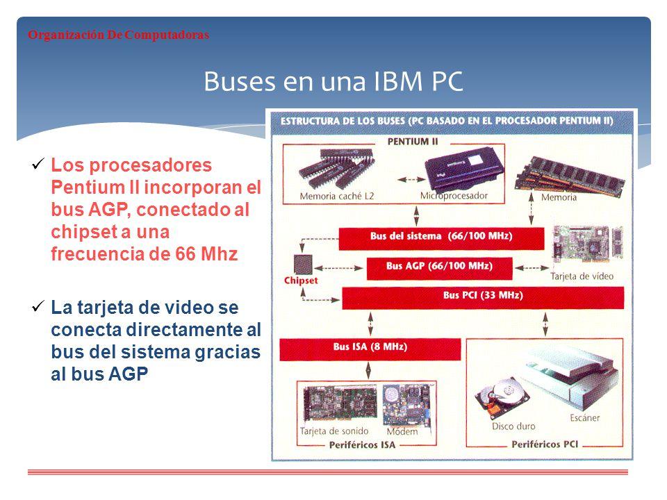 Buses en una IBM PC Los procesadores Pentium II incorporan el bus AGP, conectado al chipset a una frecuencia de 66 Mhz La tarjeta de video se conecta