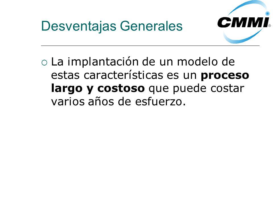 Desventajas Generales La implantación de un modelo de estas características es un proceso largo y costoso que puede costar varios años de esfuerzo.