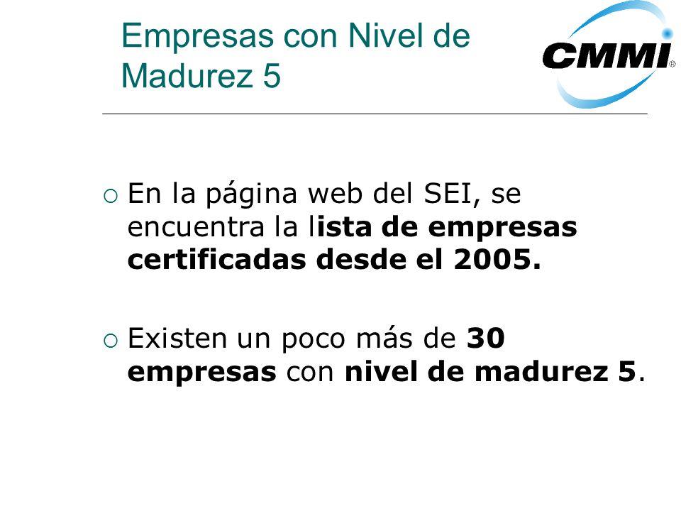 Empresas con Nivel de Madurez 5 En la página web del SEI, se encuentra la lista de empresas certificadas desde el 2005.