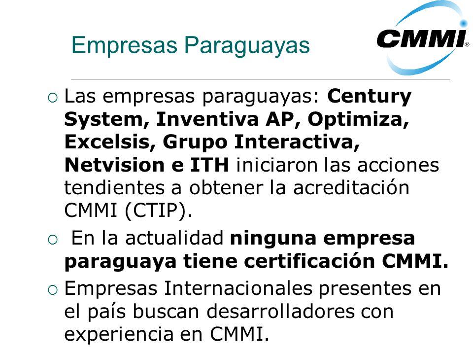 Empresas Paraguayas Las empresas paraguayas: Century System, Inventiva AP, Optimiza, Excelsis, Grupo Interactiva, Netvision e ITH iniciaron las acciones tendientes a obtener la acreditación CMMI (CTIP).