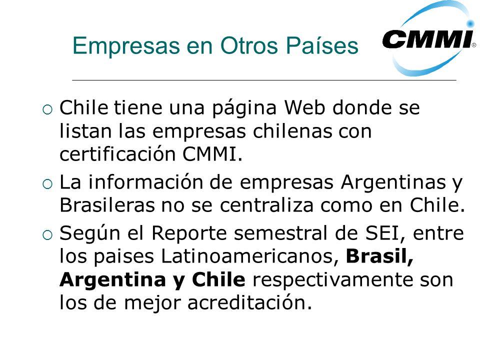 Empresas en Otros Países Chile tiene una página Web donde se listan las empresas chilenas con certificación CMMI.